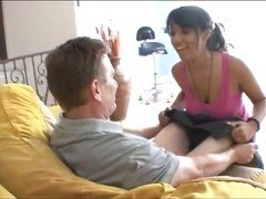 Lovely Ebony babe seduces Old Dude