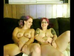 2 Fat Chubby Lesbian lovers with nice tits playing on cam