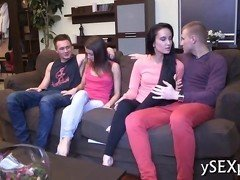 Two young hotties getting jammed with dick in a foursome doggystyle