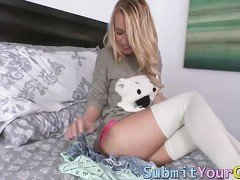 Blonde cutie in stockings get railed by a married dude