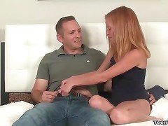 Redhead teen jerking her neighbor