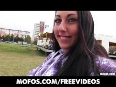 Perky Czech teen is fingered and fucked then squirts in public