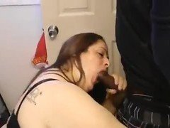 Latina milf sucks bbc in the bathroom