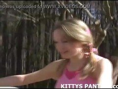 Cute teen Kitty flashing her panties