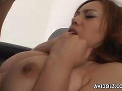 Busty brunette getting her wet pussy fucked real good
