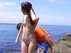 Hot young teen drilled by a handsome douche at the beach