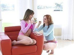 Two slender teens are having a lusty lesbian sex
