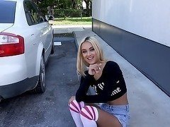 The sexiest blonde teen is sucking in my car
