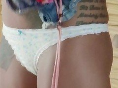White lingerie tatted-up blonde slowly teasing