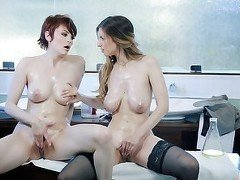 Lesbians in a lab masturbating toghether