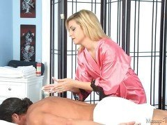 Pink bathrobe blonde gets to jerk off this dude's cock