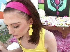 Yellow top and pink bandana brunette gets fucked raw