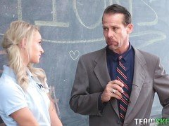 Skinny tattooed schoolgirl is sucking a teacher's dick