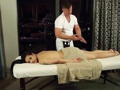 Brunette in black seduced by her big-dicked masseur