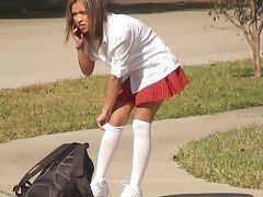 This innocent schoolgirl is looking really fuckable